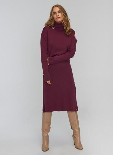 People By Fabrika Omuz Detaylı Triko Elbise Mürdüm